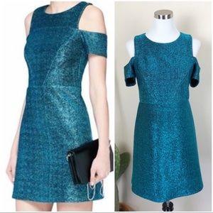 •TOPSHOP• Metallic Teal Cold Shoulder Tinsel Dress